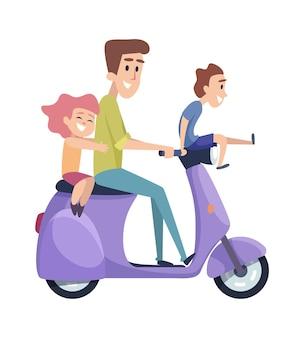 Gelukkige kinderen met vader op scooter