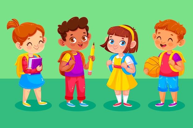 Gelukkige kinderen op hun eerste schooldag
