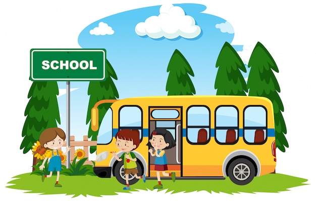 Gelukkige kinderen op schoolbus in het park
