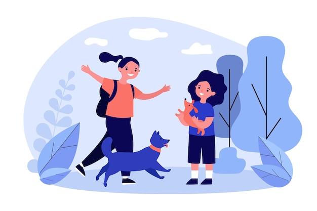 Gelukkige kinderen op wandeling met honden
