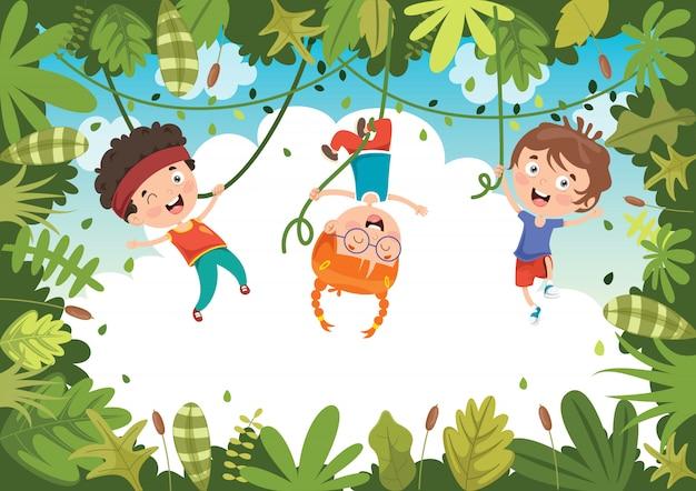 Gelukkige kinderen spelen in de jungle