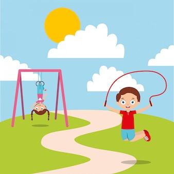 Gelukkige kinderen spelen jum touw en bar aap genieten