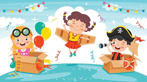 Gelukkige kinderen spelen met kartonnen kostuums