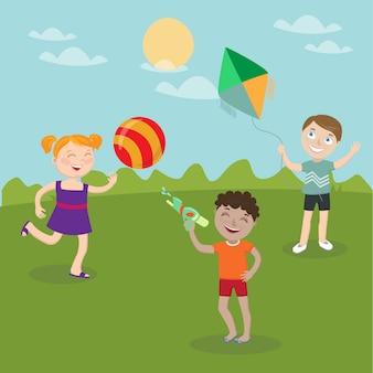 Gelukkige kinderen spelen op de natuur. meisje met bal. boy lanceert vlieger. jongen met waterpistool. vector illustratie