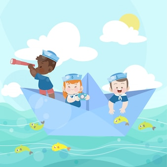 Gelukkige kinderen spelen samen in de oceaan