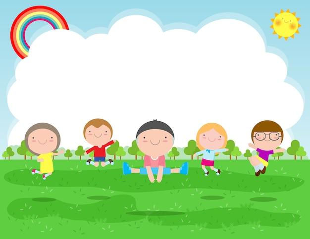 Gelukkige kinderen springen en dansen op het park, kinderactiviteiten, kinderen spelen in de speeltuin, sjabloon voor reclamefolder, uw tekst, platte grappige cartoon karakter, ontwerp illustratie