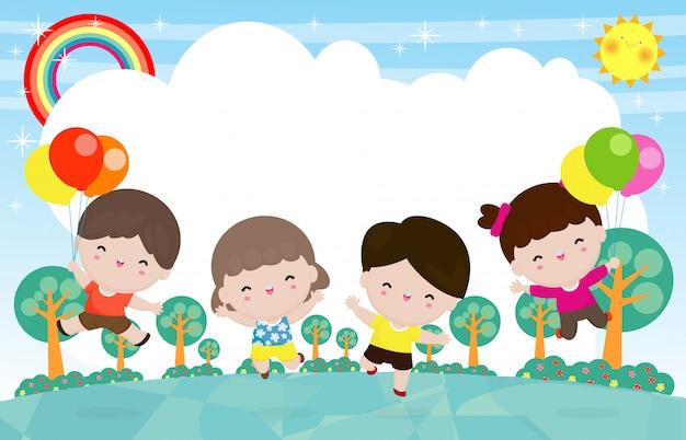 Gelukkige kinderen springen en dansen op het park, kinderactiviteiten, spelende kinderen in de speeltuin, grappig stripfiguur