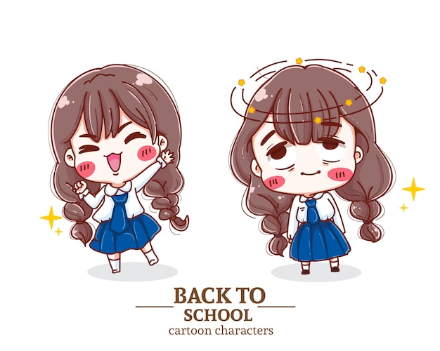 Gelukkige kinderen student uniform terug naar school illustratie logo.