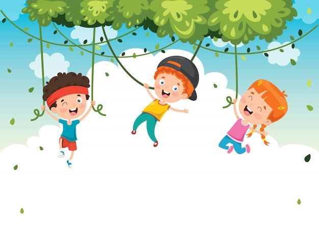 Gelukkige kinderen swingen met wortel touw in de jungle