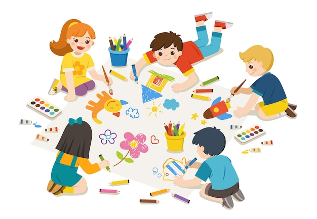 Gelukkige kinderen tekenen afbeeldingen met potloden