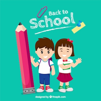 Gelukkige kinderen terug naar school met een plat ontwerp