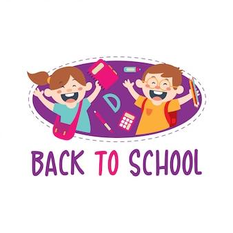 Gelukkige kinderen terug naar school plat ontwerp