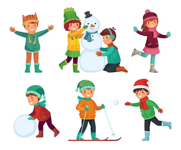 Gelukkige kinderen winteractiviteiten. kinderen spelen met sneeuw. stripfiguren