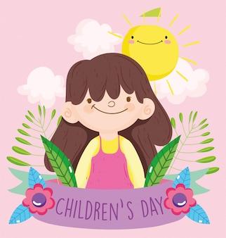 Gelukkige kinderendag, klein meisje gebladerte zon wolken lint cartoon vectorillustratie