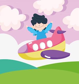 Gelukkige kinderendag, kleine jongen die in de vliegtuig vectorillustratie vliegt