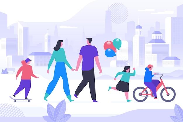 Gelukkige kindertijd activiteit platte vectorillustratie. lachende ouders en kleine kinderen stripfiguren. jong koppel met kinderen op wandeling in het stadspark. familie vrije tijd, openluchtrecreatie