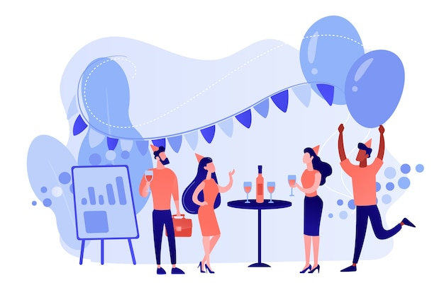 Gelukkige kleine bedrijfsmensen die dansen, plezier hebben en wijn drinken. bedrijfsfeest, teambuildingactiviteit, idee concept voor bedrijfsevenementen. roze koraal bluevector geïsoleerde illustratie
