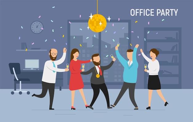 Gelukkige kleine bedrijfsmensen die dansen, plezier hebben en wijn drinken. bedrijfsfeest, teambuildingactiviteit, idee concept voor bedrijfsevenementen. vlakke stijl