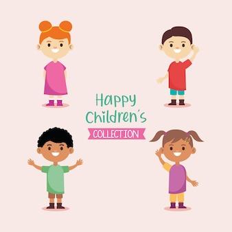 Gelukkige kleine jonge kinderen karakters en belettering illustratie