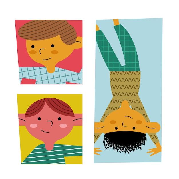 Gelukkige kleine jongens kinderen avatars tekens illustratie