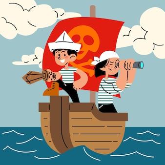 Gelukkige kleine piraat kinderen platte vectorillustratie