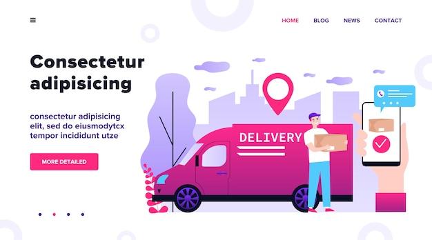 Gelukkige koerier die pakket levert aan klantenillustratie. klant maakt bestelling via smartphone-app en volgt online. service, gps-technologie en leveringsconcept.