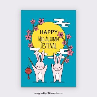 Gelukkige konijnen die midden herfstfeest vieren
