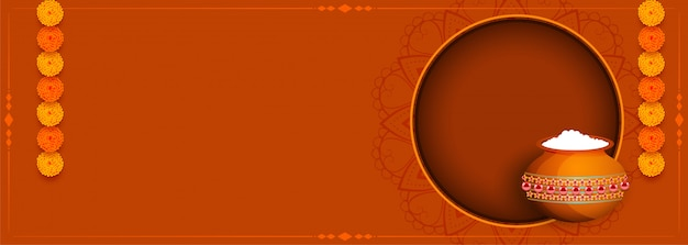 Gelukkige krishna janmashtami-festivalbanner met tekstruimte