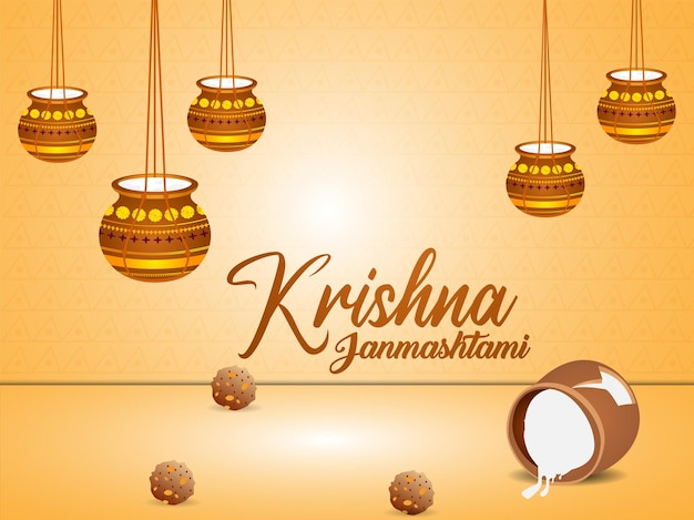 Gelukkige krishna janmashtami-vieringskaart met makhan mataki