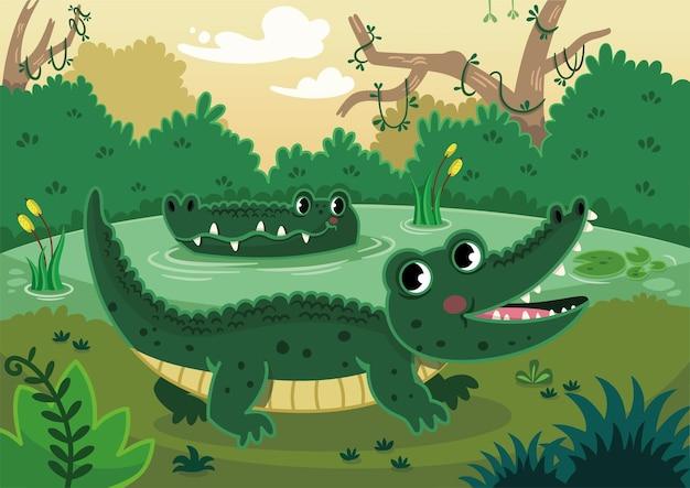 Gelukkige krokodillen in een moeras vectorillustratie