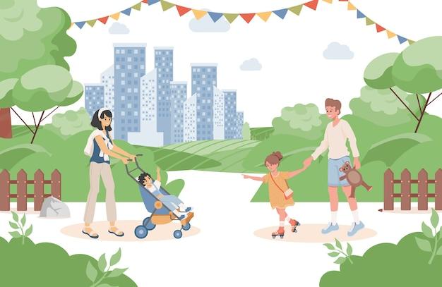Gelukkige lachende ouders met hun kinderen wandelen in het stadspark bij zomer vlakke afbeelding.
