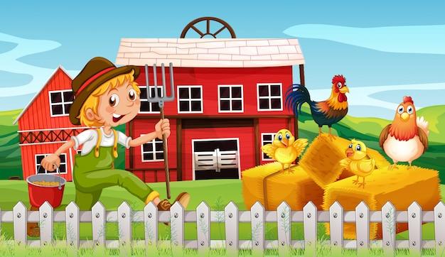 Gelukkige landbouwer op landbouwgrond