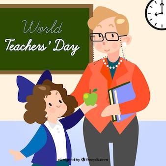 Gelukkige lerarendag, een leraar en een student