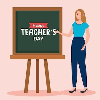 Gelukkige lerarendag, en vrouwenleraar met schoolbord