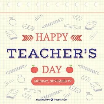 Gelukkige lerarendag, handgetekende elementen
