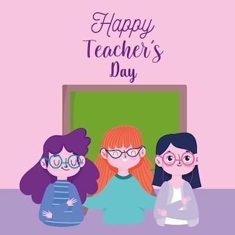 Gelukkige lerarendag, het beeldverhaal en het bord van lerarenkarakters