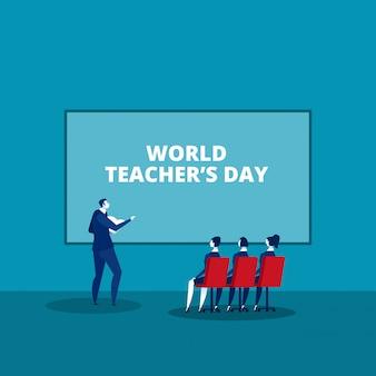 Gelukkige lerarendag in bureauconcept - het conceptvector van het aandeelidee ontmoeten