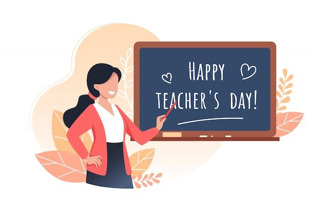 Gelukkige lerarendag, jonge vrouwenleraar houdt een aanwijzer en staat in de buurt van het schoolbestuur, cartoon afbeelding.