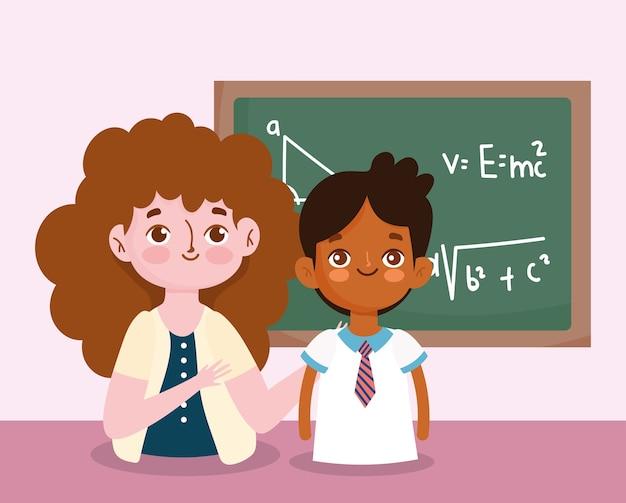 Gelukkige lerarendag, leraar en schoolbordles van de studentenjongen