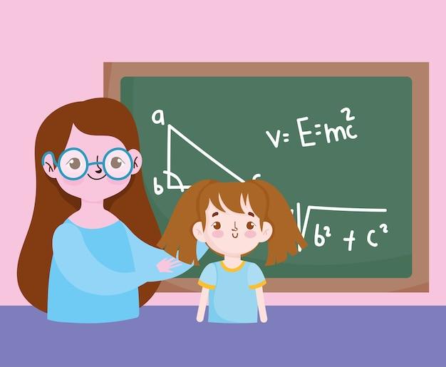 Gelukkige lerarendag, leraar en studentenmeisjebord met leswiskunde