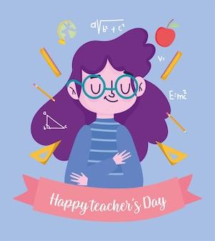 Gelukkige lerarendag, leraarbeeldverhaal met pictogrammen van de schoolbenodigdheden