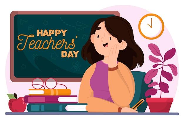 Gelukkige lerarendag met opvoeder en schoolbord