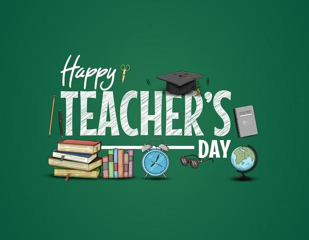 Gelukkige lerarendag met schoolbenodigdheden