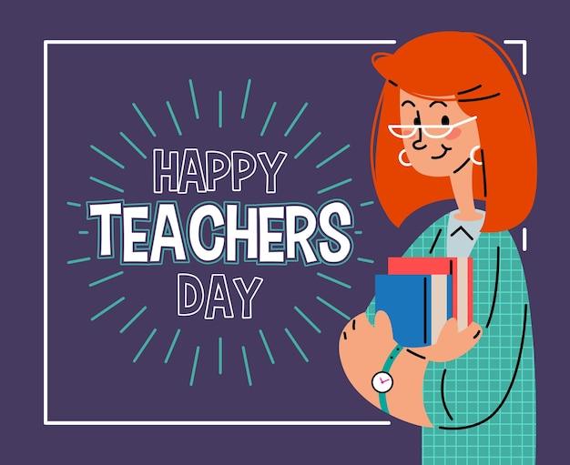 Gelukkige lerarendag mooie lachende leraar platte vectorillustratie