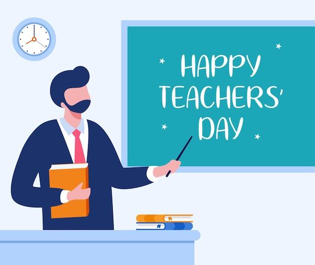 Gelukkige lerarendag, onderwijsconcept vlakke illustratievector