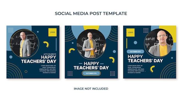 Gelukkige lerarendag platte sociale media postbannersjabloon