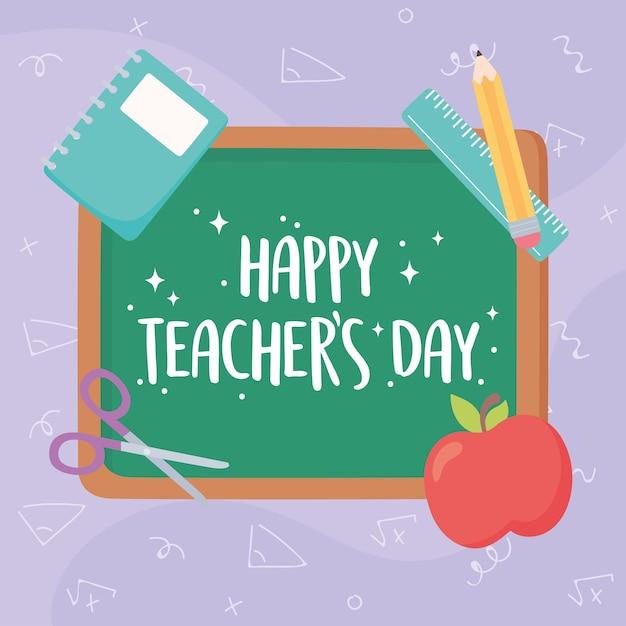 Gelukkige lerarendag, schoolbord belettering appel boek liniaal en potlood