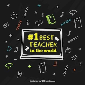 Gelukkige lerarendag, zwarte achtergrond met handgetekende elementen