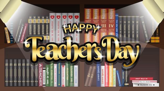 Gelukkige lerarendagachtergrond met gouden tekst bij bibliotheek