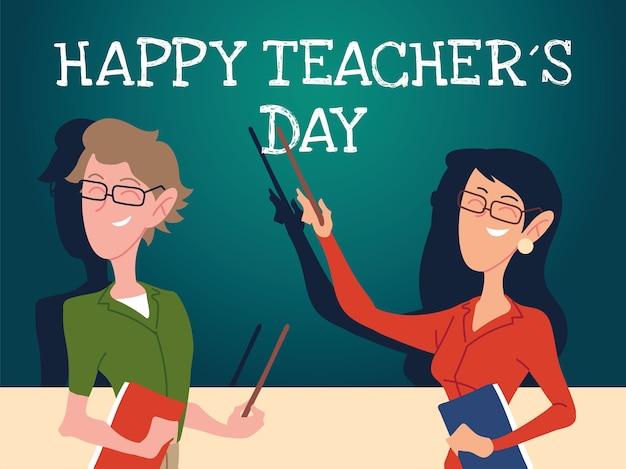 Gelukkige lerarendagkaart met paar lerarenontwerp